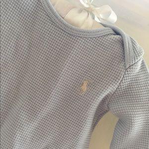 🆕 Ralph Lauren Waffle-Knit Beryl Blue Bodysuit